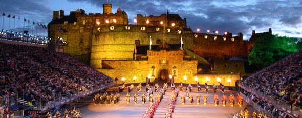 The Edinburgh Military Tattoo outside Edinburgh Castle