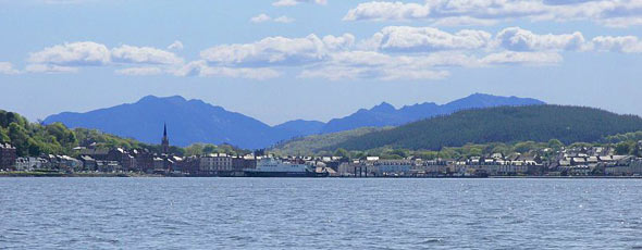 Arran mountains over Rothesay on Isle of Bute by SeaDave, flickr